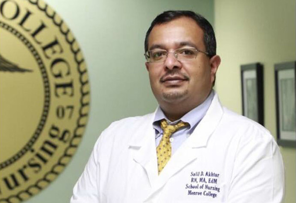 Nurse Executive program student Salil Akhtar is a professor at Monroe College School of Nursing.