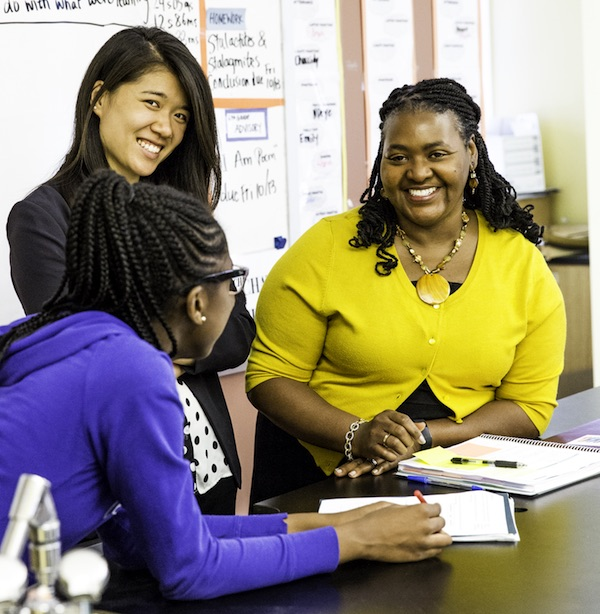"RELEVANT SCIENCE Professor Felicia Moore Mensah (shown with Teachers College Community School science teacher Jenny Shen and sixth-grade student Trinity Faulkner) advocates ""helping kids to see science as applicable to their lives."" In one unit, fourth and fifth graders in East Harlem study manufacturing emissions and consider the impact on their families."
