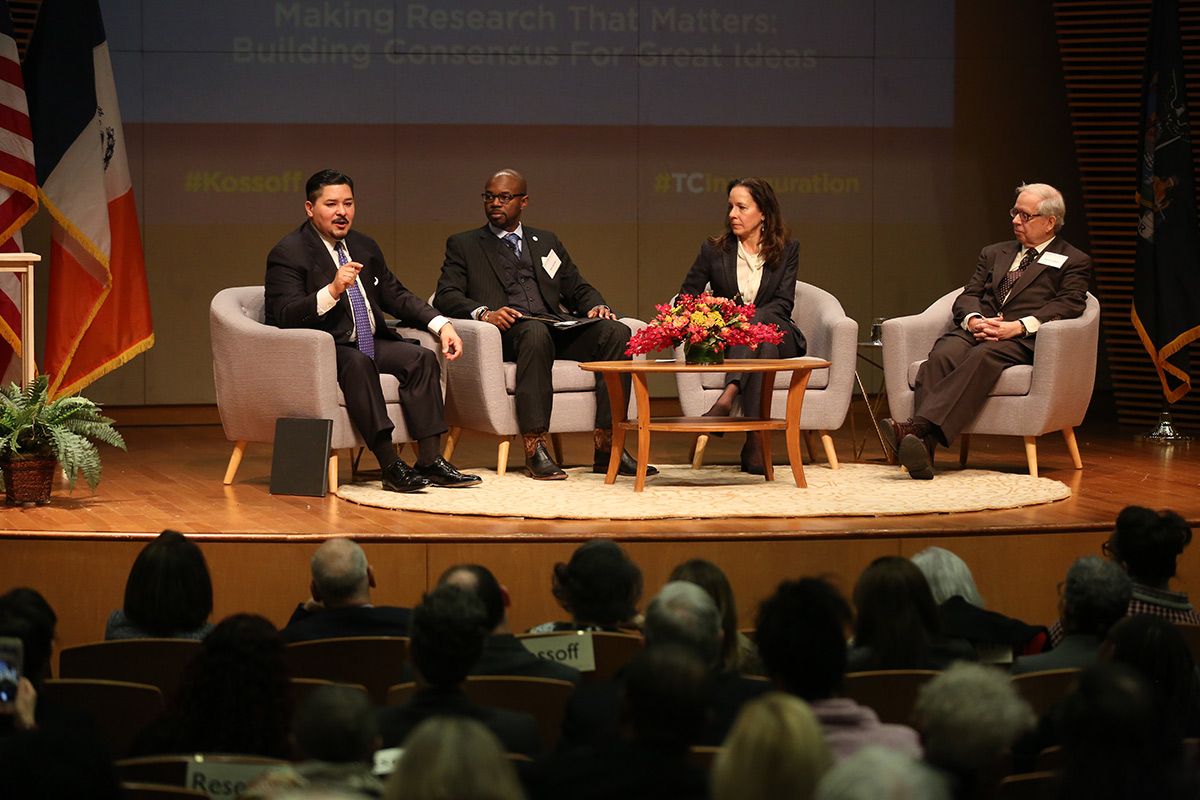 Richard Carranza and a panel of TC faculty in discussion after the Kossoff Lecture on Dec 6