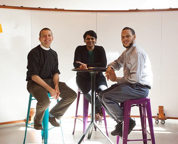THE COLLECTIVE WE Vasudevan collaborates closely with her students, including doctoral candidate Kyle Oliver (left) and master's candidate Troy Williams.