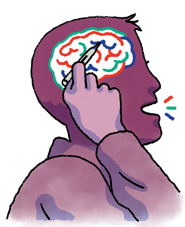 Man pointing to brain
