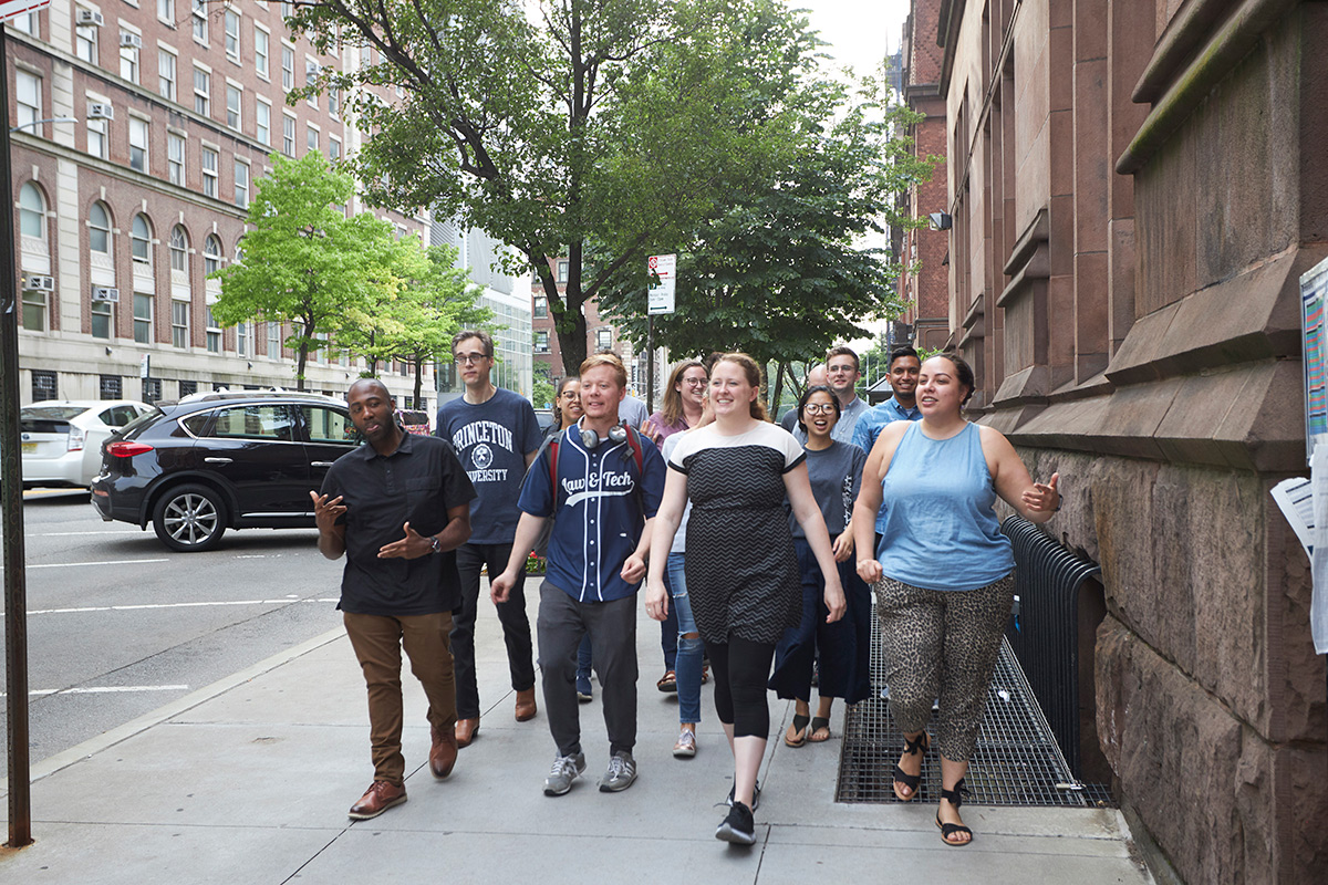 Jaffe Fellows walking along 120th Street