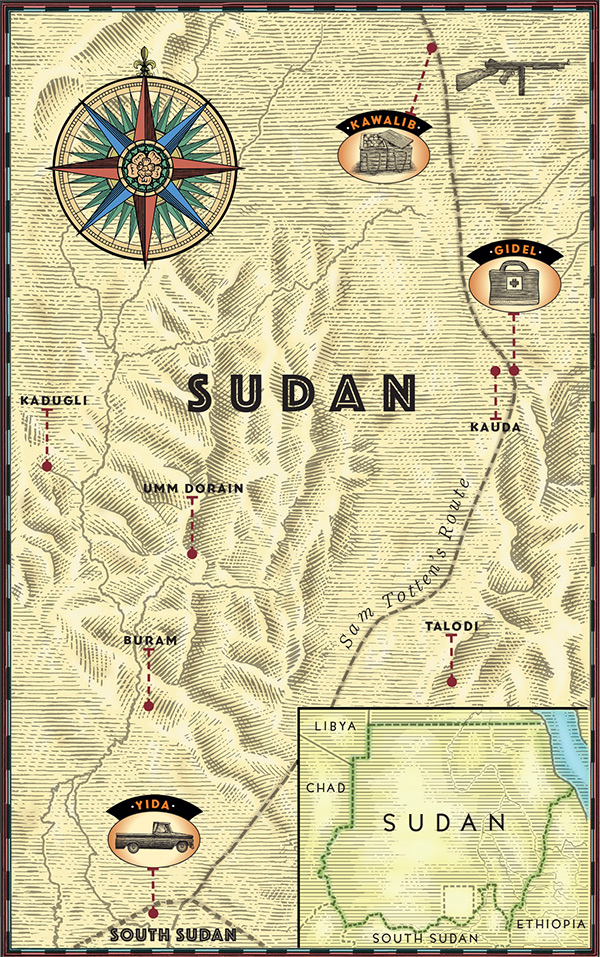 Map of Sam Totten's travels through Nuba