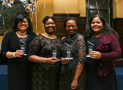 MUCH APPRECIATED Four recently promoted faculty members were honored by TC's Black Student Network. From left: Michelle Knight-Manuel, Felicia Mensah, Yolanda Sealey-Ruiz and Erica Walker. (Photo: Abigail Lopez)