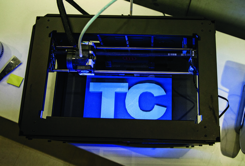 A 3D printer in the ThingSpace, part of TC's Creative Technologies program.